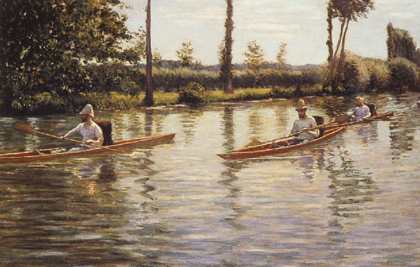 famous painting Perissoires sur l'Yerres aka Boating on the Yerres of Gustave Caillebotte