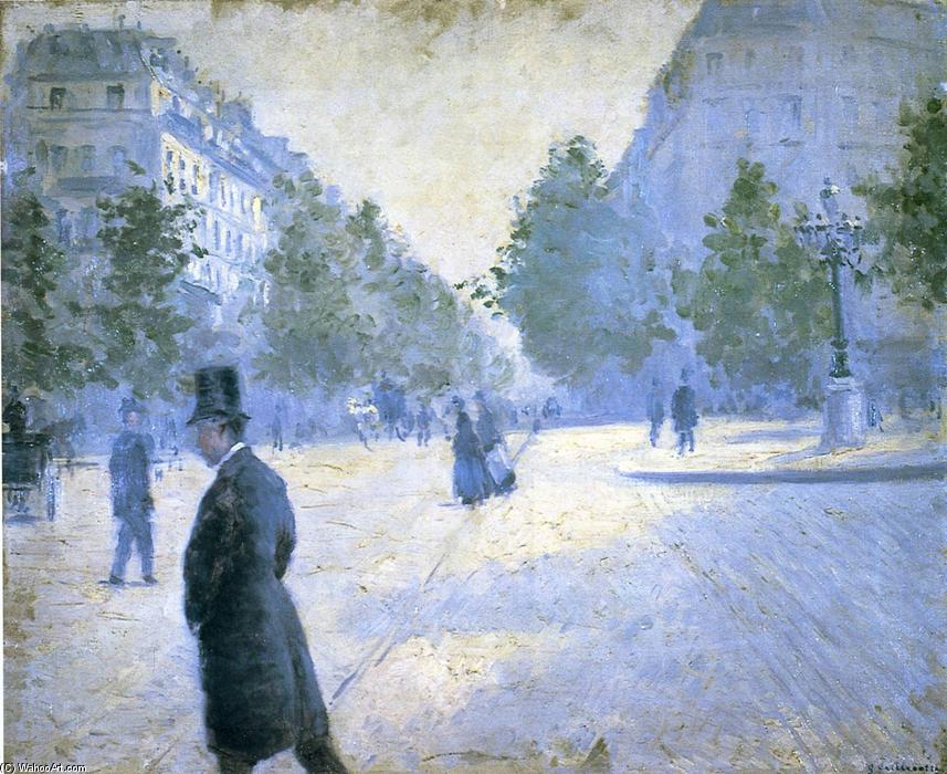 famous painting Place Saint Augustin, Misty Weather of Gustave Caillebotte