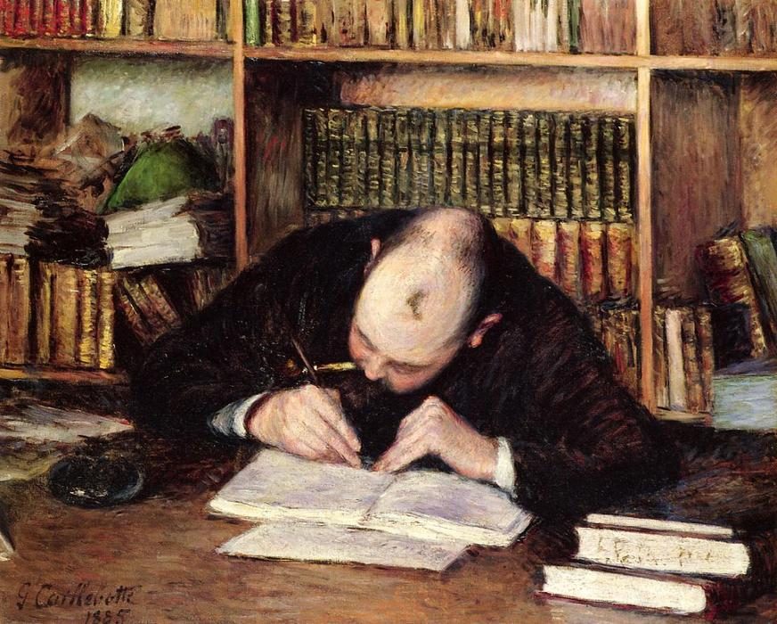 famous painting Portrait of a Man Writing in His Study of Gustave Caillebotte