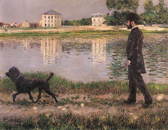famous painting Richard Gallo and His Dog at Petit Gennevilliers of Gustave Caillebotte