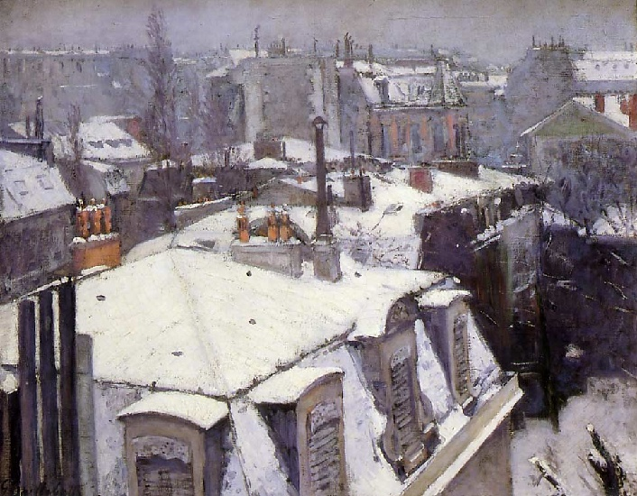 famous painting Rooftops Under Snow of Gustave Caillebotte