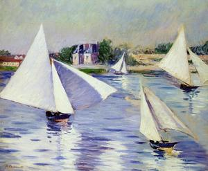 Gustave Caillebotte - Sailboats on the Seine at Argenteuil