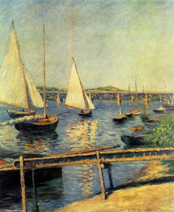 famous painting Sailing boats at Argenteuil of Gustave Caillebotte
