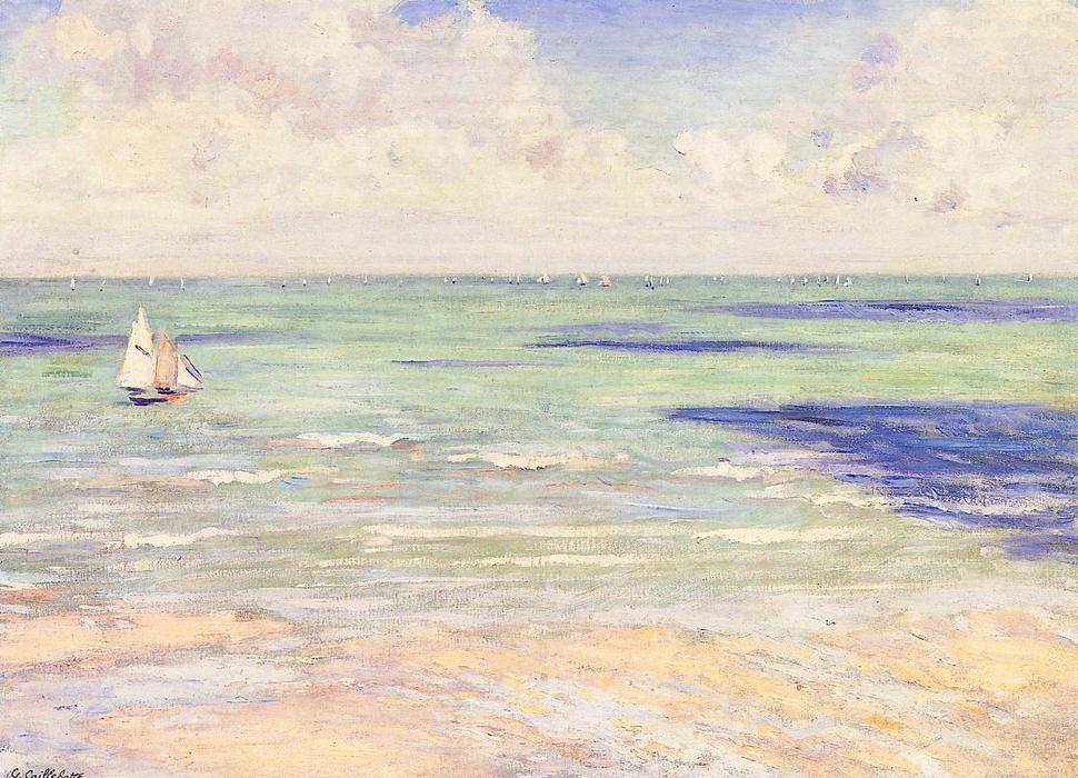 famous painting Seascape, Regatta at Villers of Gustave Caillebotte
