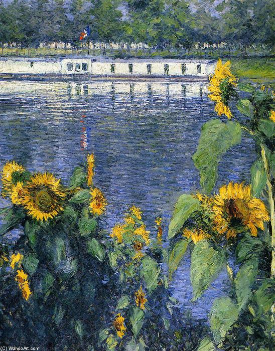 famous painting Sunflowers on the Banks of the Seine of Gustave Caillebotte