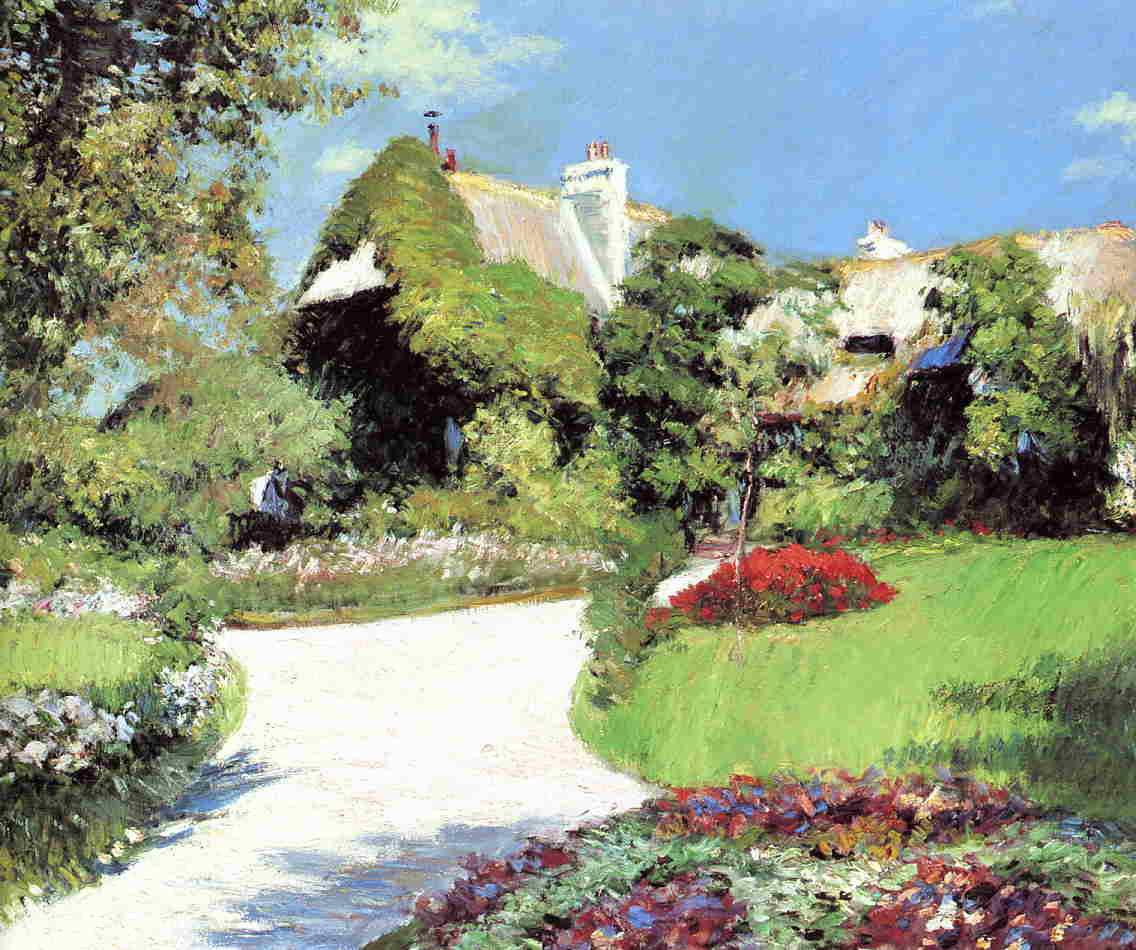 famous painting Thatched Cottage, Trouville of Gustave Caillebotte