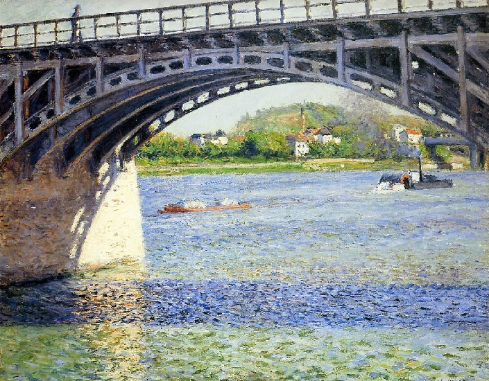 famous painting The Argenteuil Bridge and the Seine of Gustave Caillebotte