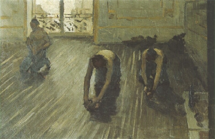 famous painting The Floor Scrapers (study) 02 of Gustave Caillebotte