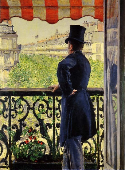 famous painting The Man on the Balcony of Gustave Caillebotte