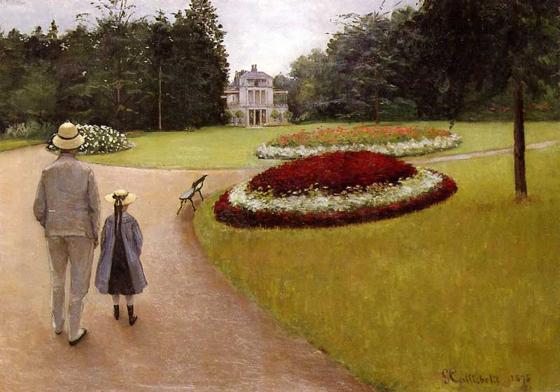 famous painting The Park on the Caillebotte Property at Yerres of Gustave Caillebotte