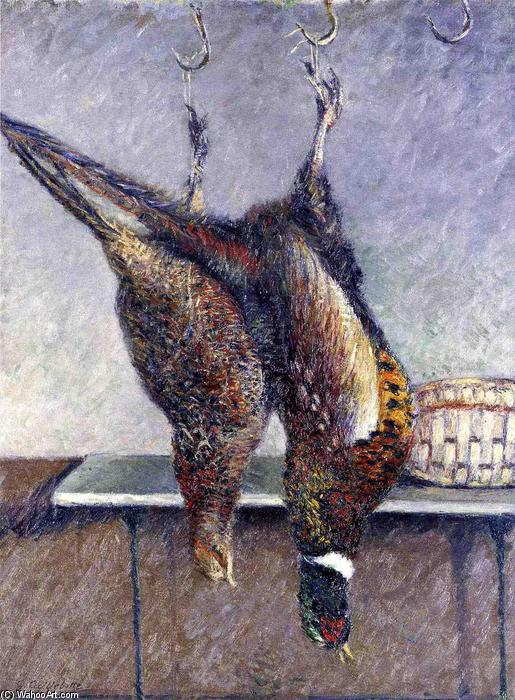 famous painting Two Hanging Pheasants of Gustave Caillebotte