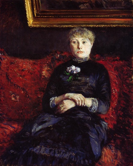 famous painting Woman Sitting on a Red-Flowered Sofa 02 of Gustave Caillebotte