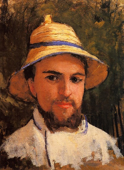 famous painting Self Portrait (fragment) aka Self Portrait Wearing a Summer Hat of Gustave Caillebotte