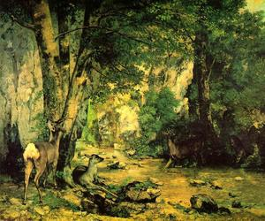 Gustave Courbet - A Thicket of Deer at the Stream of Plaisir-Fontaine