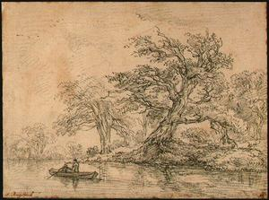 Jacob Isaakszoon Van Ruisdael (Ruysdael) - Old Trees along a Bank