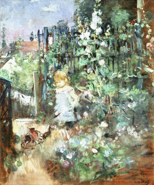 famous painting Child among Staked Roses of Berthe Morisot