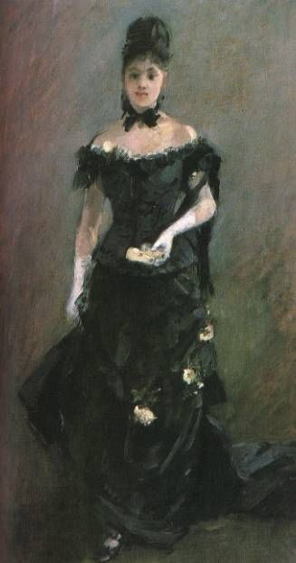famous painting Figure of a Woman (Before the Theater) of Berthe Morisot