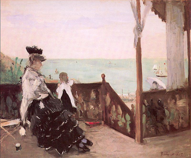 famous painting In a Villa at the Seaside of Berthe Morisot