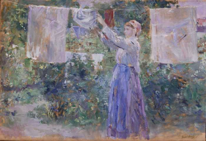 famous painting Peasant Girl Hanging Clothes to Dry of Berthe Morisot