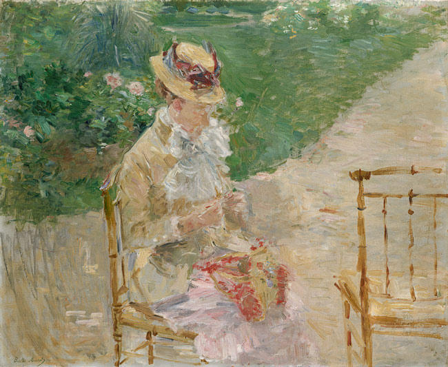 famous painting Young Woman Knitting of Berthe Morisot