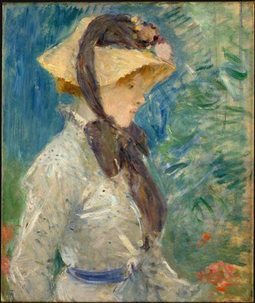 famous painting Young Woman with a Straw Hat of Berthe Morisot