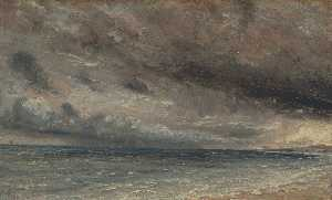 John Constable - The Coast at Brighton - Stormy Evening