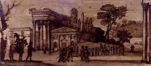 Claude Lorrain (Claude Gellée) - Landscape with classical buildings and figures