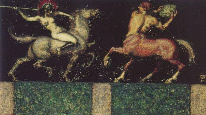 famous painting Amazon and Centaur of Franz Von Stuck