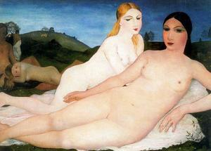 Paul Delvaux - Naked girls in the fields with friends