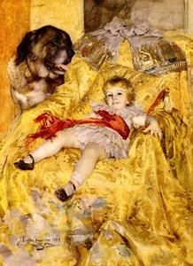 Anders Leonard Zorn - A Portrait Of Christian De Falbe, With A Saint Bernard At Luton Hoo
