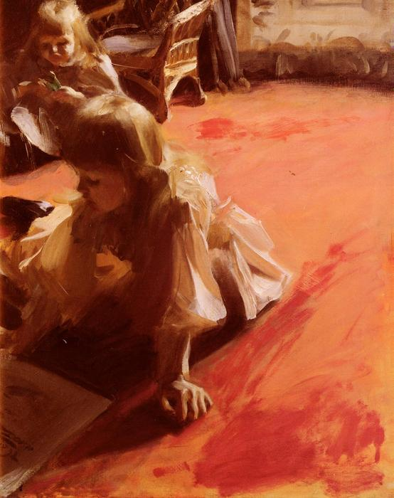 famous painting A Portrait of the Daughters of Ramon Subercasseaux of Anders Leonard Zorn