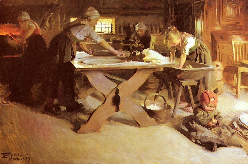 famous painting Brodbaket of Anders Leonard Zorn