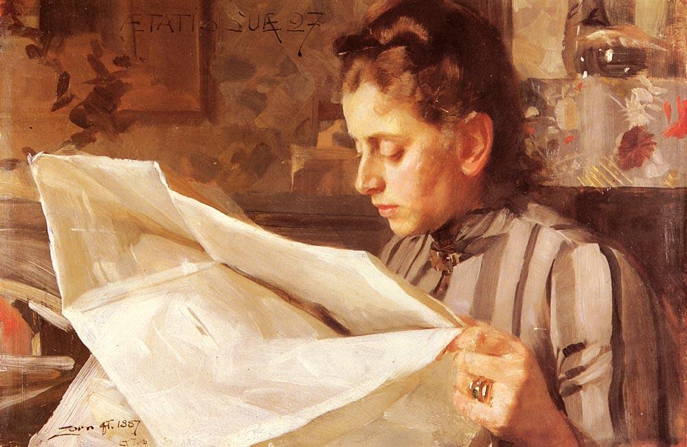 famous painting Emma Zorn, Lasande of Anders Leonard Zorn