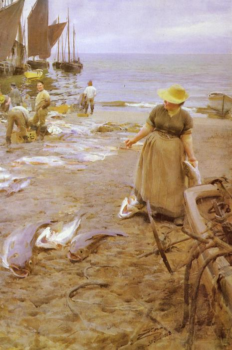 famous painting Fiskmarknad I St. Ives of Anders Leonard Zorn