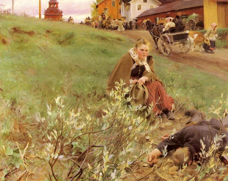 famous painting Mora Marknad of Anders Leonard Zorn