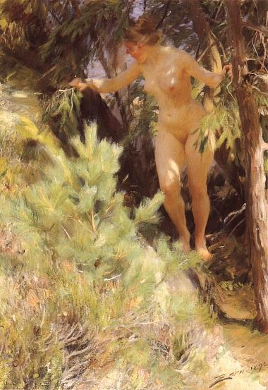 famous painting Naken under en gran of Anders Zorn
