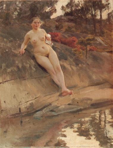 famous painting Solbadande flicka of Anders Zorn