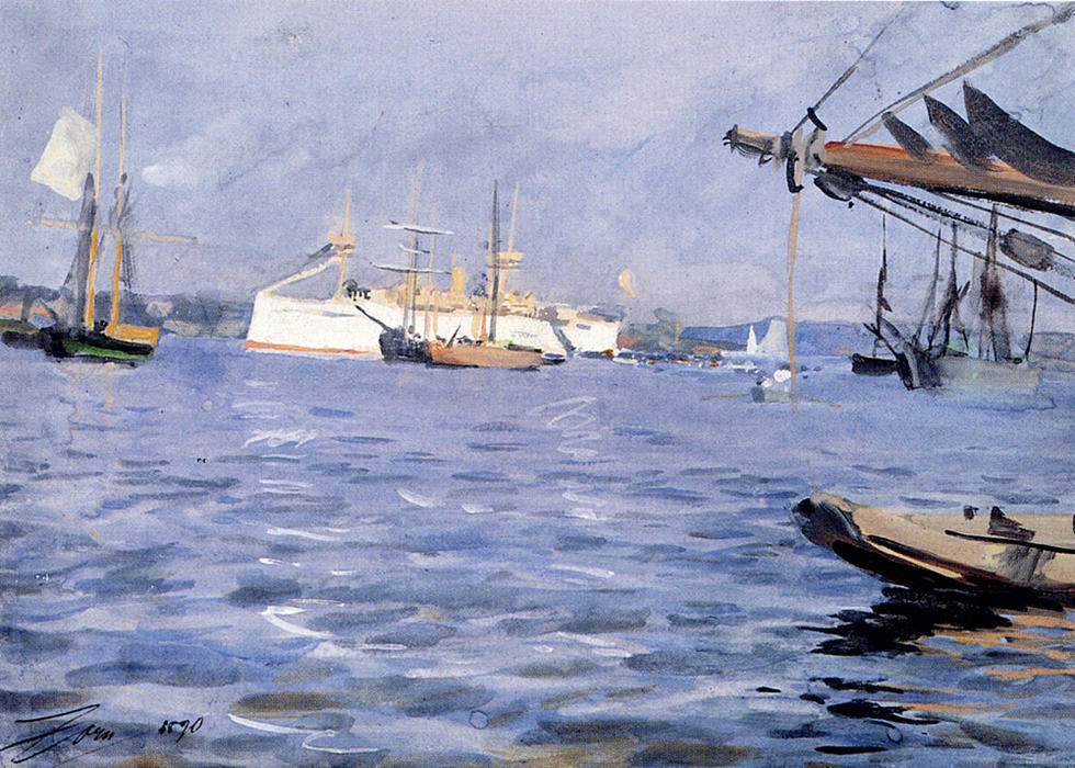 famous painting The Battleship Baltimore In Stockholm Harbor of Anders Leonard Zorn