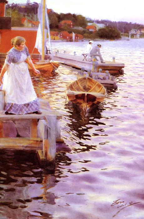 famous painting Vågskvalp of Anders Leonard Zorn