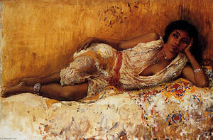 Edwin Lord Weeks - Moorish Girl Lying On A Couch--Rabat, Morocco