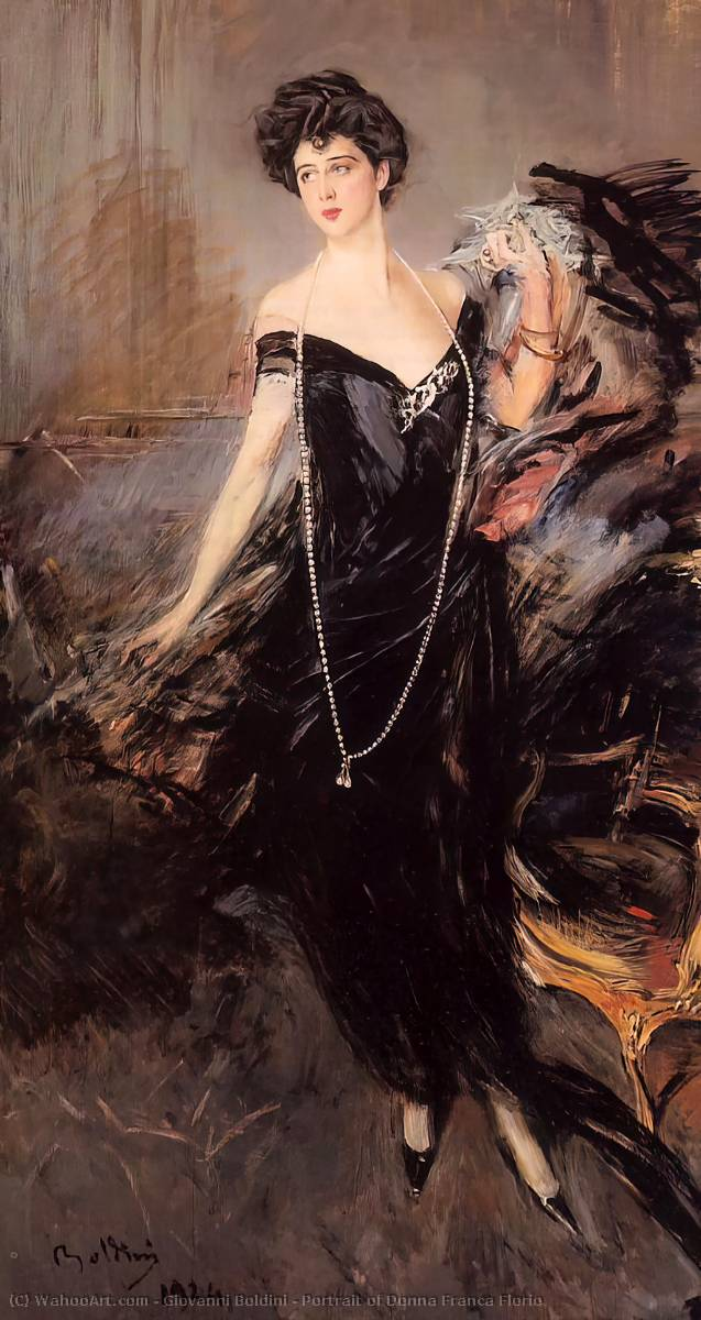 famous painting Portrait of Donna Franca Florio of Giovanni Boldini