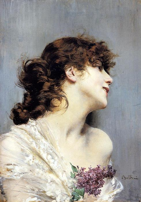 famous painting Profile of a Young Woman of Giovanni Boldini