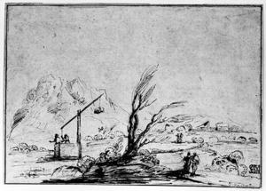 Guercino (Barbieri, Giovanni Francesco) - Landscape with Figures and a Wel