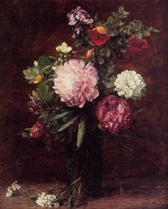 Henri Fantin Latour - Flowers, Large Bouquet with Three Peonies