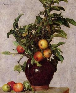 Henri Fantin Latour - Vase with Apples and Foliage