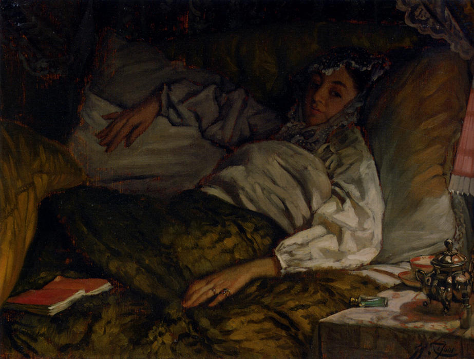 famous painting A Reclining Lady of James Jacques Joseph Tissot
