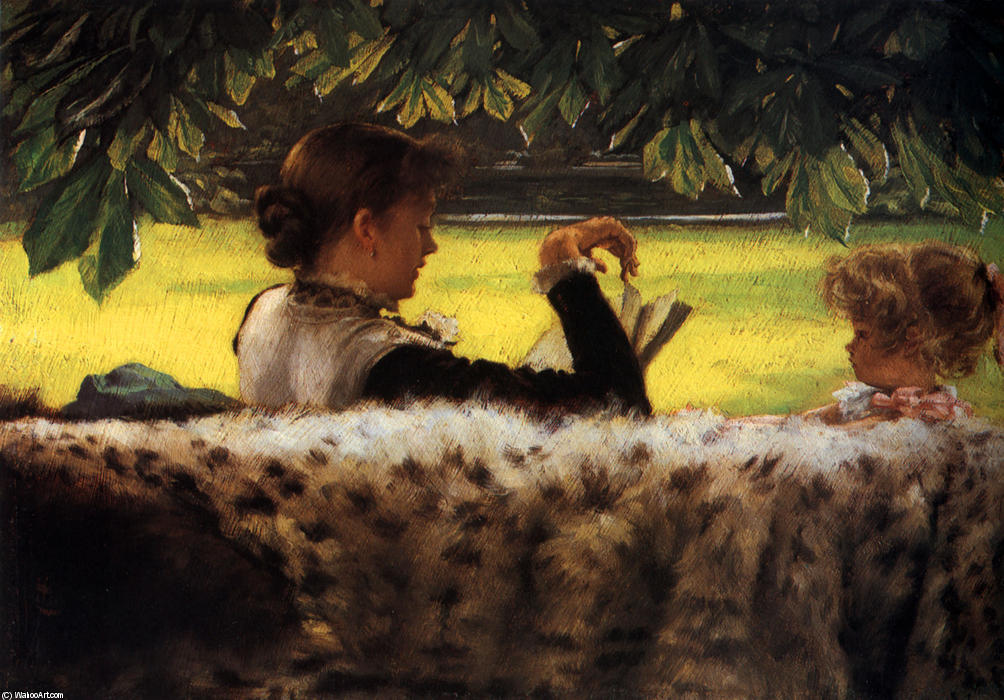 famous painting Reading a Story of James Jacques Joseph Tissot