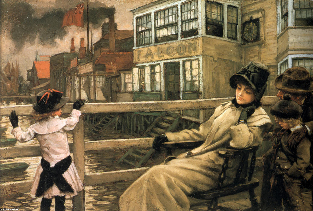 famous painting Waiting for the Ferry of James Jacques Joseph Tissot