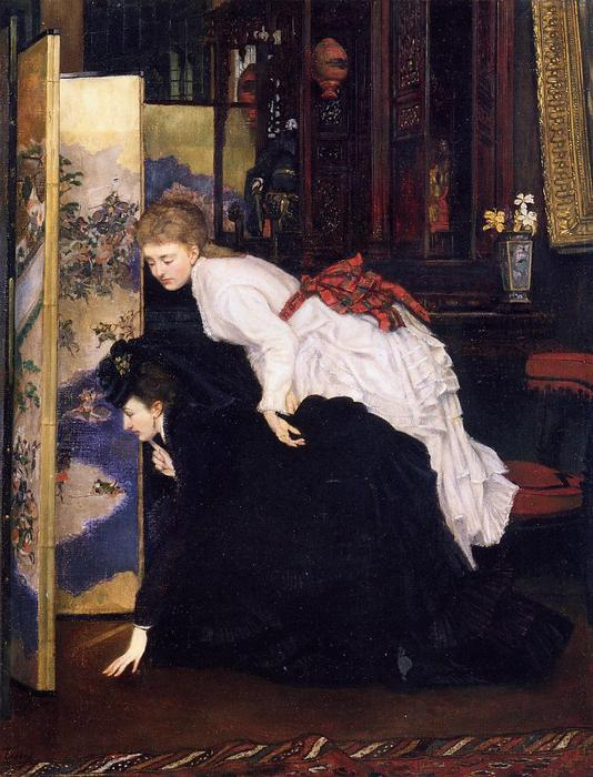 famous painting Young Women Looking at Japanese Objects 1 of James Jacques Joseph Tissot