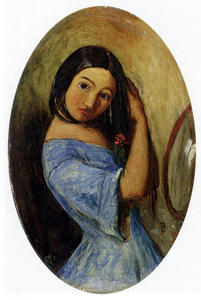 John Everett Millais - A Young Girl-Combing Her Hair